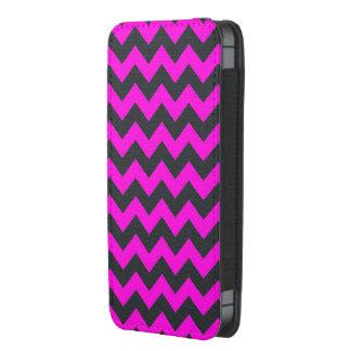 Neon pink black chevron pattern iphone pouch