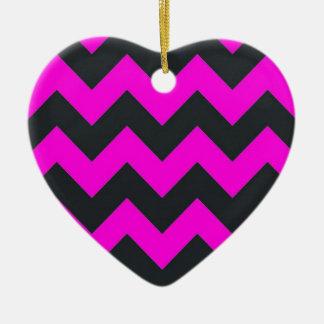 Neon pink black chevron pattern christmas tree ornaments