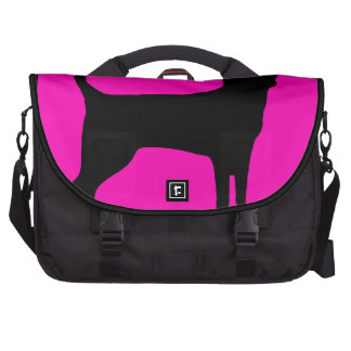 Neon pink black chihuahua dog silhouette commuter bag