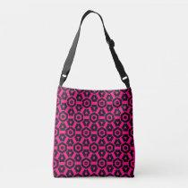 Neon Pink Black Geometric 4Rhonda Crossbody Bag