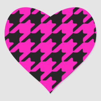 Neon pink black star pattern design heart sticker