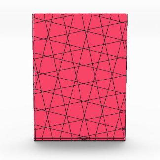 Neon pink black stripes pattern acrylic award