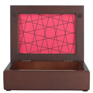 Neon pink black stripes pattern memory box