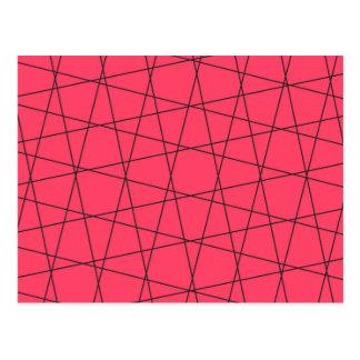 Neon pink black stripes pattern postcard