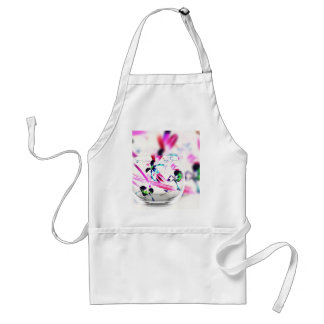 Neon Pink, Blue, Green Contemporary Orchid Design Adult Apron