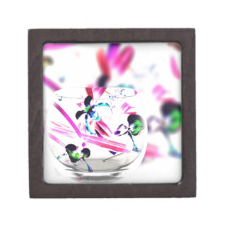 Neon Pink, Blue, Green Contemporary Orchid Design Jewelry Box