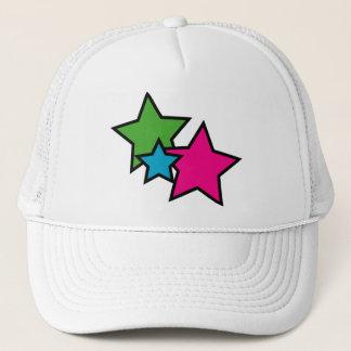 Neon Pink Blue Green Stars Trucker Hat