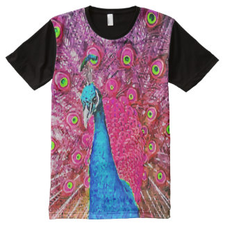 Neon Pink Blue Peacock All-Over Print T-shirt