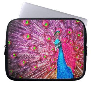 Neon Pink Blue Peacock Portrait Computer Sleeve