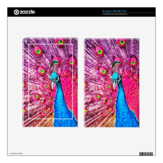 Neon Pink Blue Peacock Portrait Decals For Kindle Fire