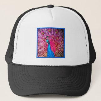 Neon Pink Blue Peacock Portrait Trucker Hat
