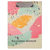 Neon Pink Brush Strokes Gold Splatters Clipboard