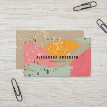 Neon Pink Brush Strokes Kraft Paper Business Card