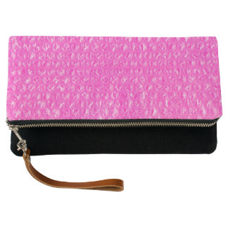 Neon Pink Champagne Pop Bubble Wrap Clutch