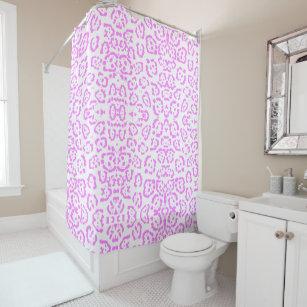 Neon Pink Cheetah Animal Print Shower Curtain