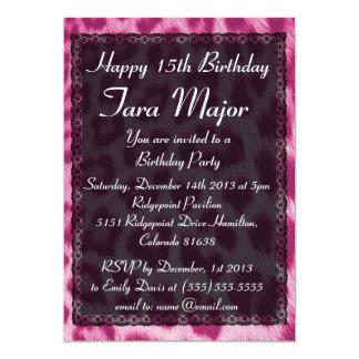 Neon Pink Cheetah Lace Birtday Invitation