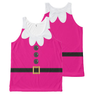 Neon Pink Christmas Elf Novelty Tank Top