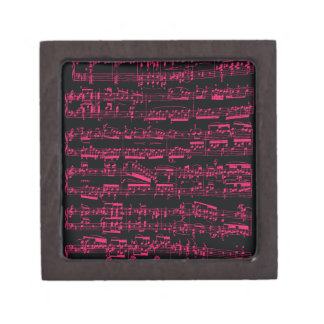 Neon pink classical sheet music (Beethoven) Keepsake Box