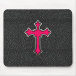 Neon Pink Cross Black Vintage Leather Image Print Mouse Pad