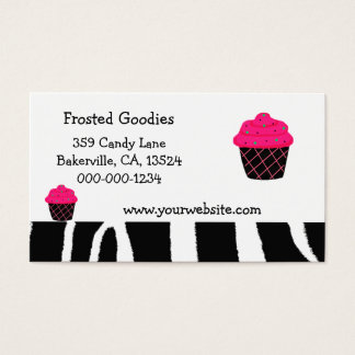 Neon Pink Cupcake Design Business Card