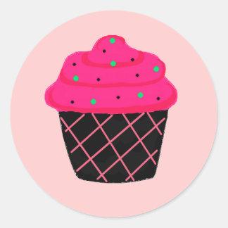 Neon Pink Cupcake Classic Round Sticker