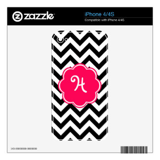 Neon Pink Custom Monogram with Chevron Pattern iPhone 4S Decal