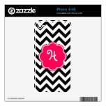 Neon Pink Custom Monogram with Chevron Pattern Skins For iPhone 4S