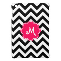 Neon Pink Custom Monogram with Zigzag Pattern iPad Mini Case
