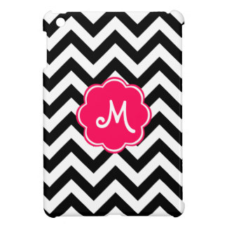 Neon Pink Custom Monogram with Zigzag Pattern iPad Mini Cover