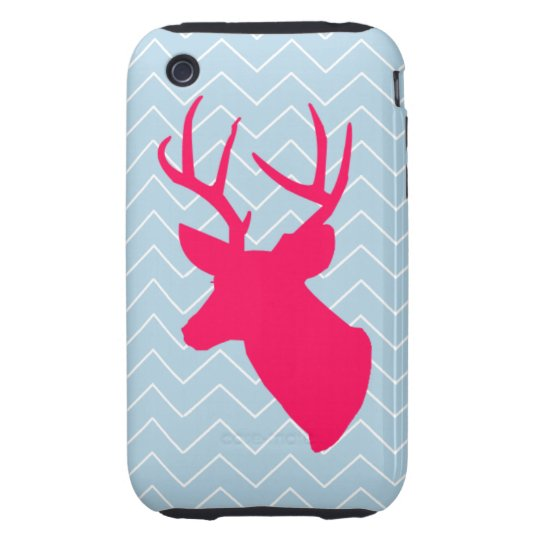 Neon Pink Deer Silhouette iPhone 3 Tough Case