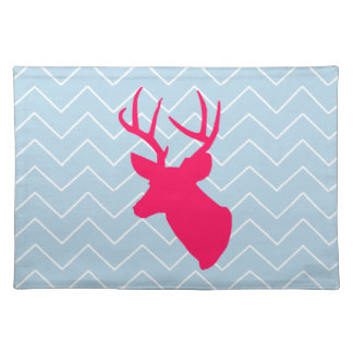 Neon Pink Deer Silhouette Cloth Place Mat