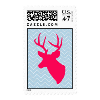 Neon Pink Deer Silhouette Postage Stamp