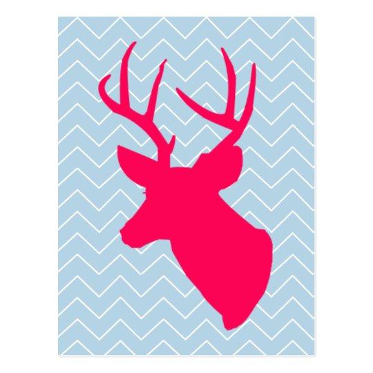 Neon Pink Deer Silhouette Postcard
