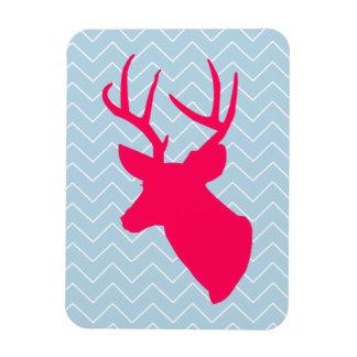 Neon Pink Deer Silhouette Rectangular Photo Magnet