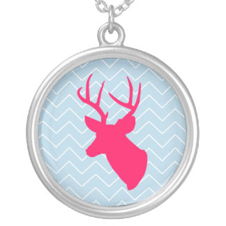 Neon Pink Deer Silhouette Round Pendant Necklace