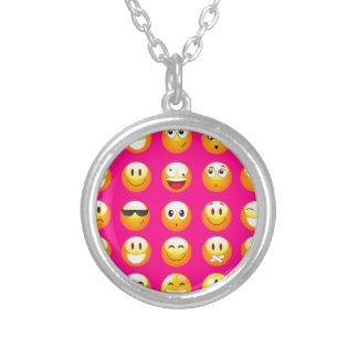 neon pink emojis silver plated necklace