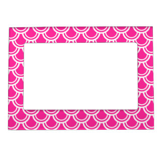 Neon Pink Fish Scale Pattern Magnetic Frame