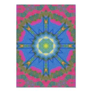 Neon Pink Folk Art Mandala Card