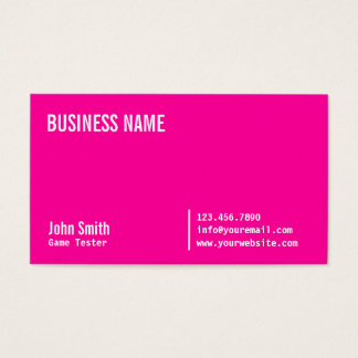 Neon Pink Game Testing Business Card