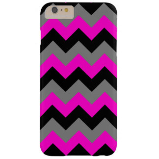 Neon Pink Gray and Black Zigzag Barely There iPhone 6 Plus Case