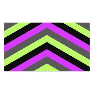Neon Pink Green Black Chevron zigzag stripes print Business Card Templates