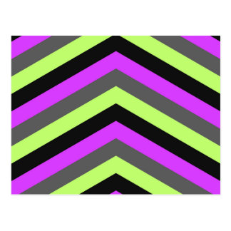 Neon Pink Green Black Chevron zigzag stripes print Postcard