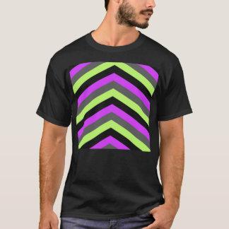 Neon Pink Green Black Chevron zigzag stripes print T-Shirt