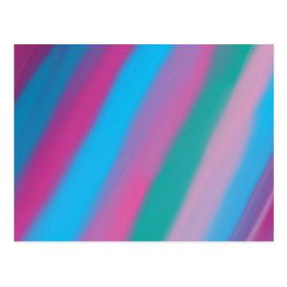 Neon pink green blue stripes pattern postcard