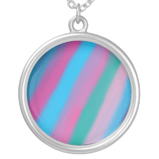 Neon pink green blue stripes pattern round pendant necklace