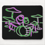 Neon Pink & Green Drum set Mouse Pads