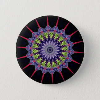 Neon Pink Green Lavender Mandela With Spikes Pinback Button