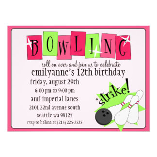 Neon Pink & Green Totally Retro Bowling Birthday P Personalized Invitation
