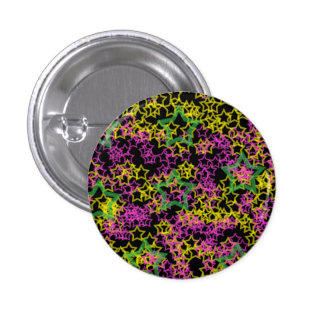 Neon Pink Green & Yellow Star Outlines on Black Pinback Button