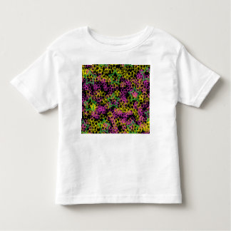 Neon Pink Green & Yellow Star Outlines on Black Toddler T-shirt